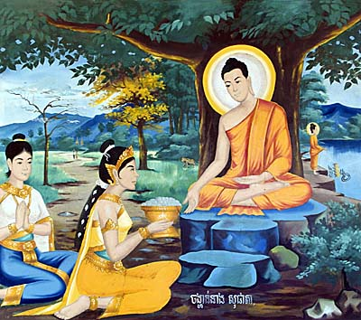 Sujata offers Food for Siddhartha. Image by Asienreisender