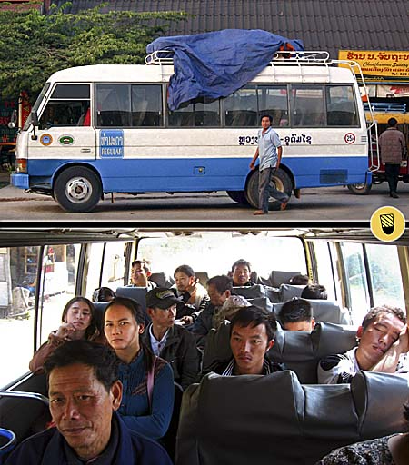 A Laotian Bus from outside and from inside with Passengers by Asienreisender