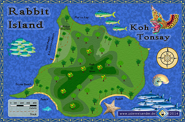 Map of Rabbit Island, Koh Tonsay, Koh Thonsay by Asienreisender