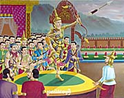 Temple Painting of Rama's Bow Shooting in a Temple in Stung Treng by Asienreisender