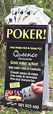 Poker Advertisement in Sihanoukville by Asienreisender
