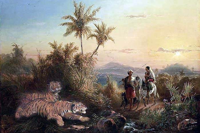 Painting of Tigers sneaking at Travellers by Raden Saleh