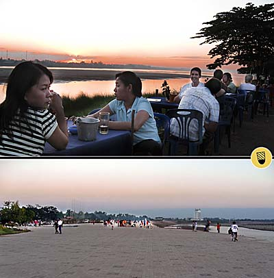 Booming Vientiane - The River Promenade changed over the last Years by Asienreisender