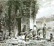 Javanese People offering at at Temple on Dieng Plateau, 19th Century Sketch