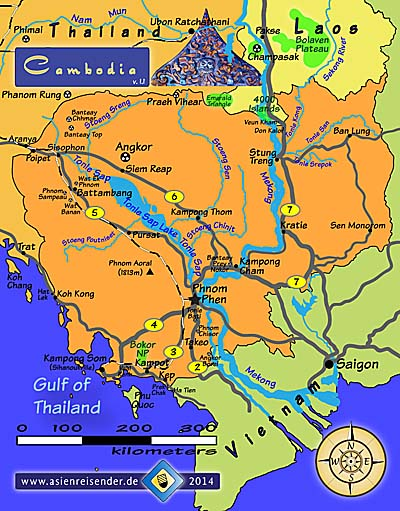 Map of Cambodia by Asienreisender