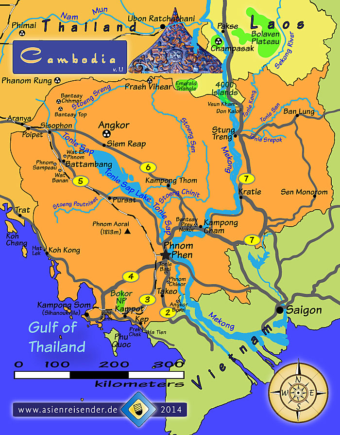 Cambodia by Asienreisender – Cambodia Tourist Attractions Map
