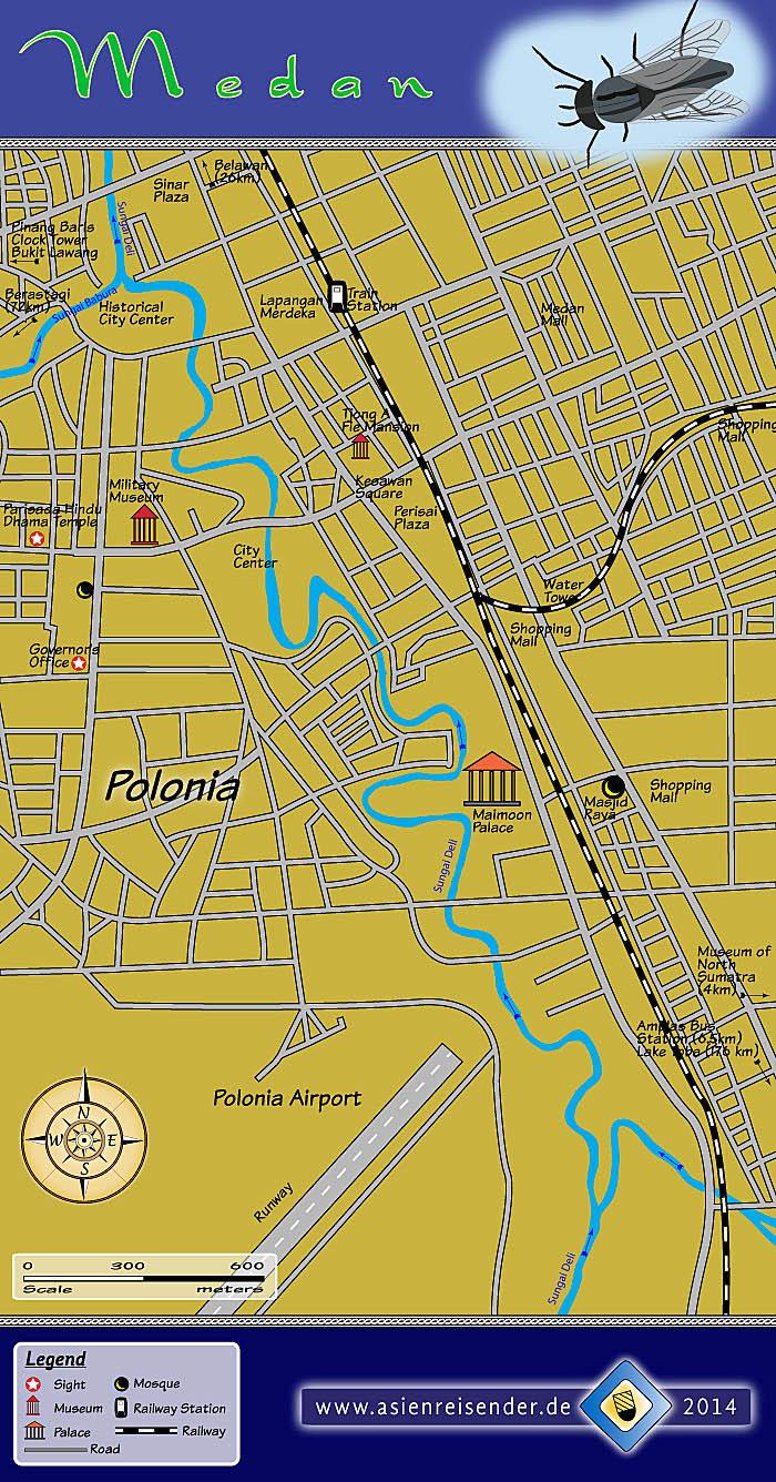 Medan Medan Map Maimoon Palace Masjid Raya Istana Maimun