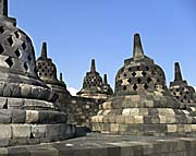 Some of the upper Stupas of Borobodur by Asienreisender