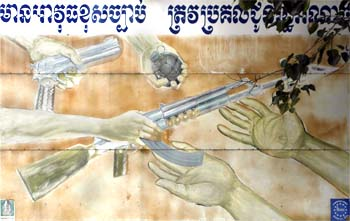 'Hand your Weapons over' Poster in Cambodia by Asienreisender