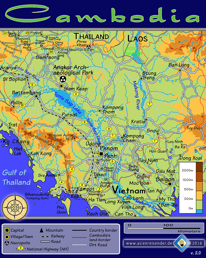 Topographic Map of Cambodia by Asienreisender
