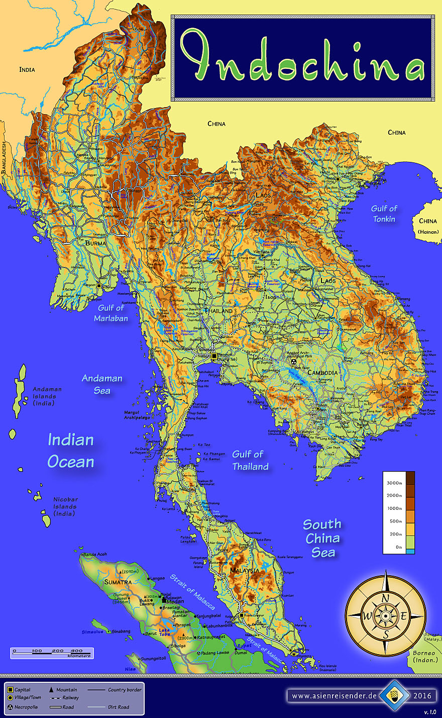 Thailand Topographic Map.Gallery Of Articles On Southeast Asia Thailand Laos Cambodia