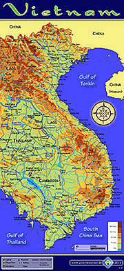 Thumbnail 'Topographic Map of Vietnam' by Asienreisender