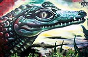 'Painting of a Crocodile at the Outer Walls of Dusit Zoo, Bangkok' by Asienreisender