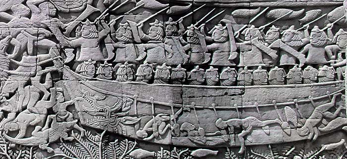 'Naval Battle Scene with Crocodile | Bas Relief of the Bayon' by Asienreisender