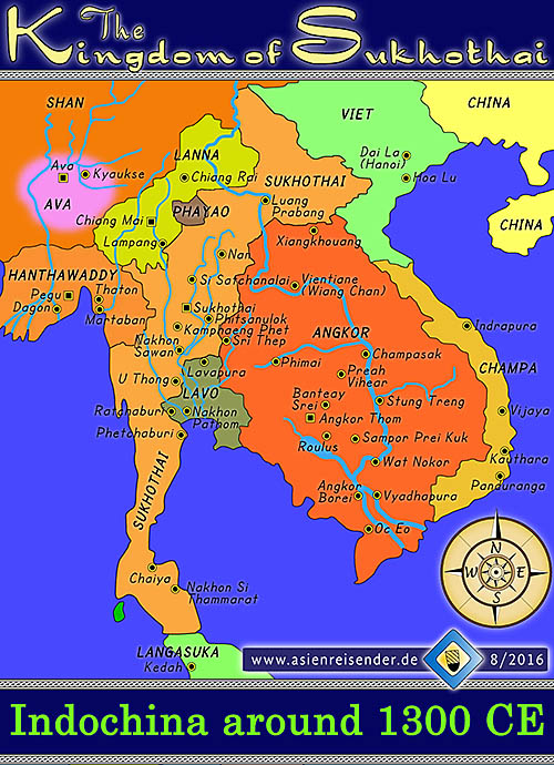 'Map of the Kingdom of Sukhothai | Indochina around 1300 CE' by Asienreisender