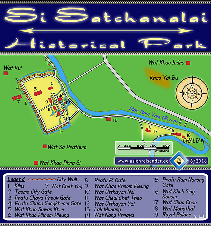 'Map of Si Satchanalai Historical Park' by Asienreisender