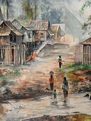 'A Tribal Village on a Painting in Phonsavan | Laos' by Asienreisender