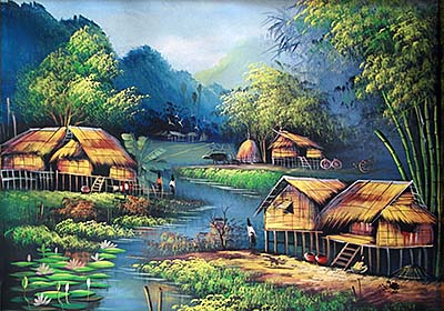 'Painting of a Tribal Village in Thailand' by Asienreisender