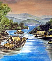 'Painting with Traditional River Boats | Chiang Khong, North Thailand' by Asienreisender
